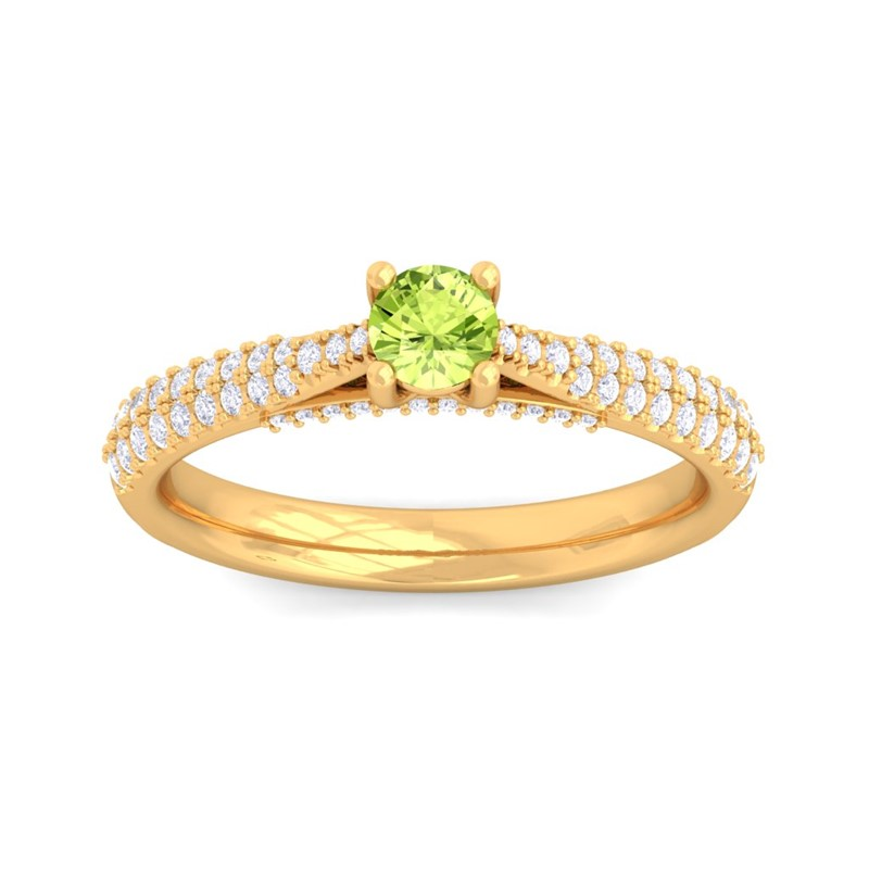 Green-Peridot-IJ-SI-Sparkling-Gemstone-Diamond-Dailywear-Ring-14K-Yellow-Gold