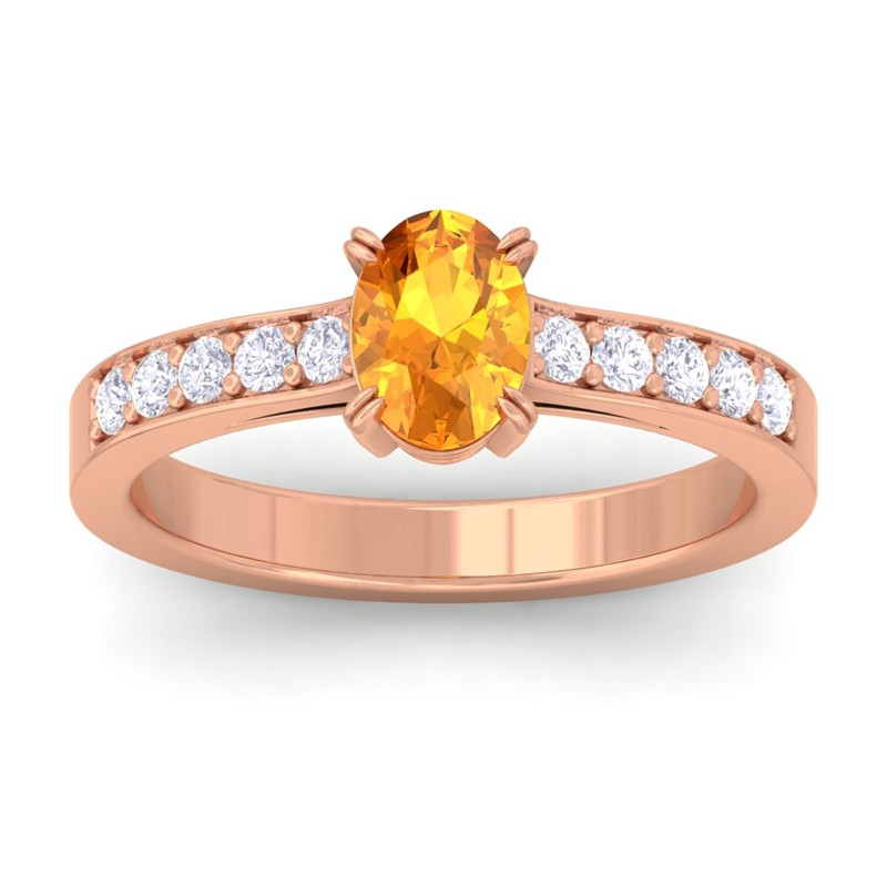orange citrine ij si diamonds womens gemstone engagement