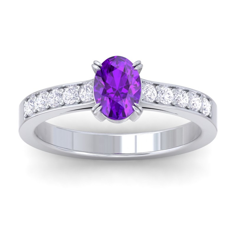 purple amethyst fg si diamonds womens gemstone engagement