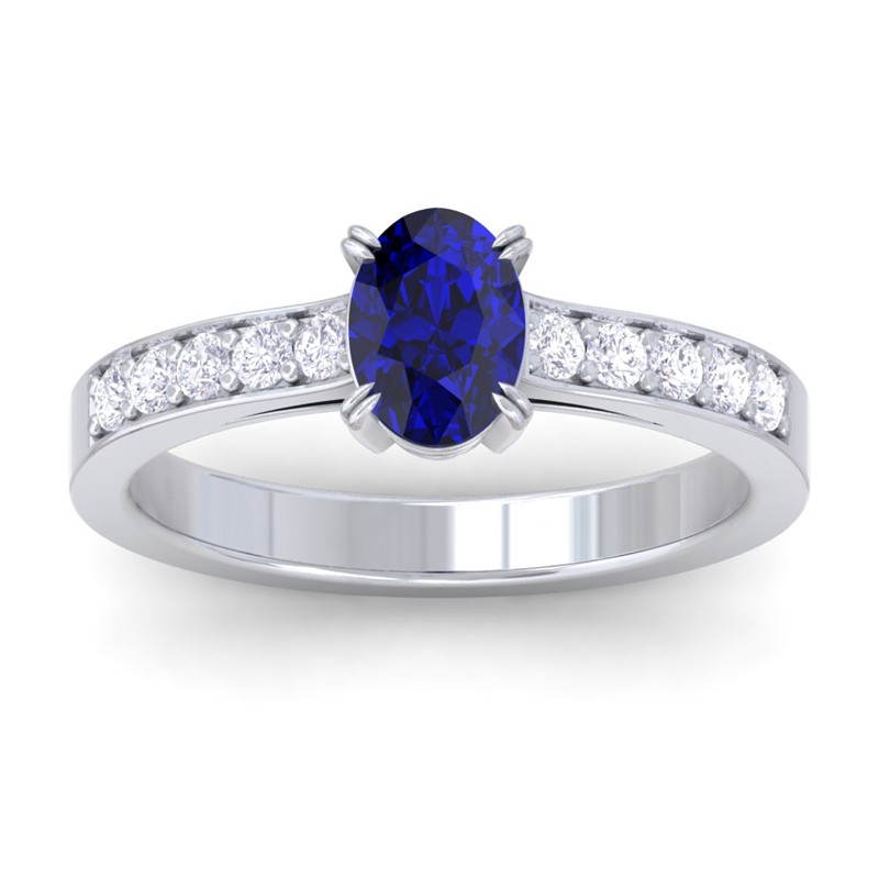 blue sapphire ij si diamonds womens gemstone engagement. Black Bedroom Furniture Sets. Home Design Ideas