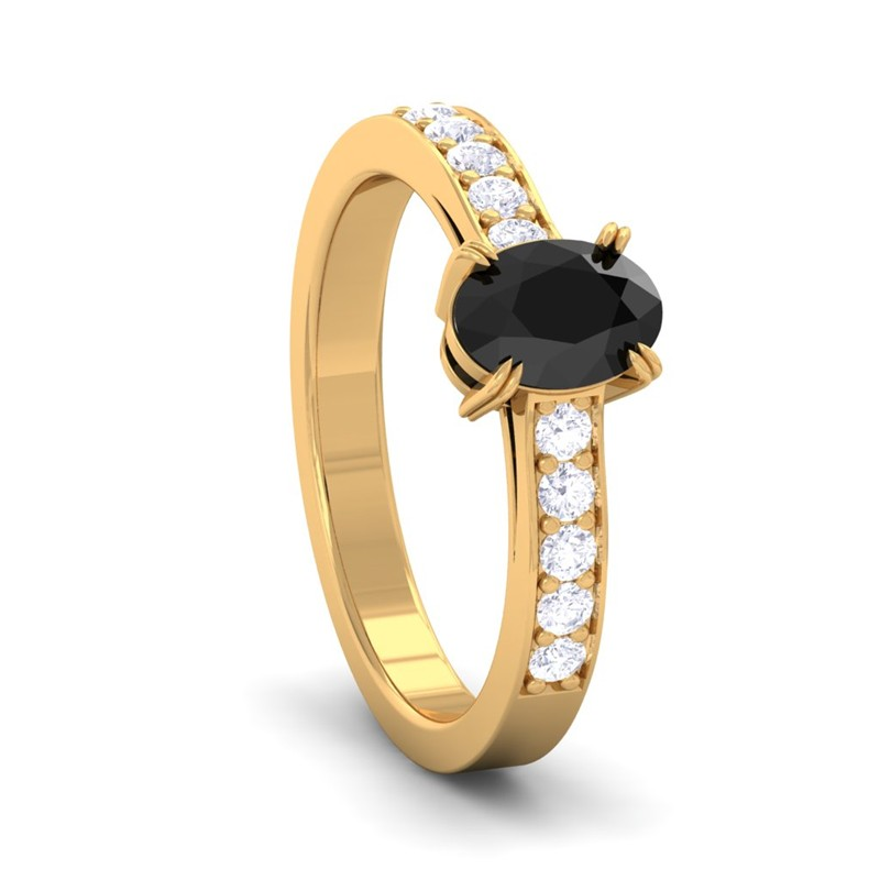 Black-Onyx-GH-VS-Diamonds-Womens-Gemstone-Engagement-Ring-Yellow-Gold