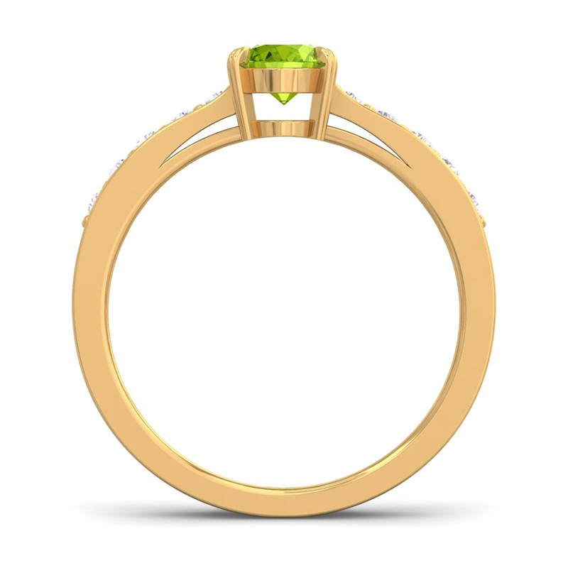 Green-Peridot-IJ-SI-Diamonds-Womens-Gemstone-Engagement-Ring-Yellow-Gold