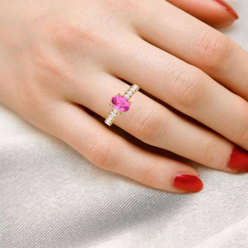 Pink-Sapphire-FG-SI-Diamonds-Womens-Gemstone-Engagement-Ring-18K-Gold