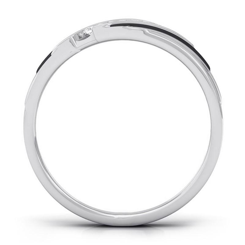 0-08ct-FG-SI-Fine-Channel-Set-Round-Diamonds-Mens-Two-Tone-Ring-18K-Gold