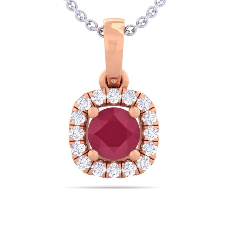 Red-Ruby-FG-SI-Diamonds-Cushion-Gemstone-Pendant-Women-14K-Rose-Gold