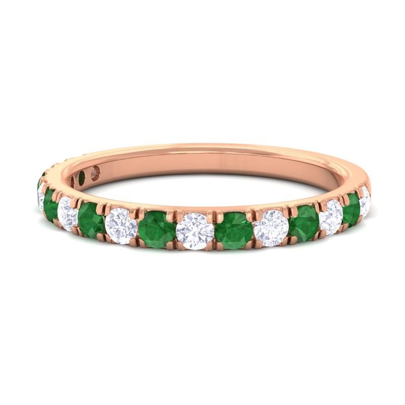 Green-Emerald-FG-SI-Diamond-Half-Eternity-Womens-Wedding-Band-18K-Gold
