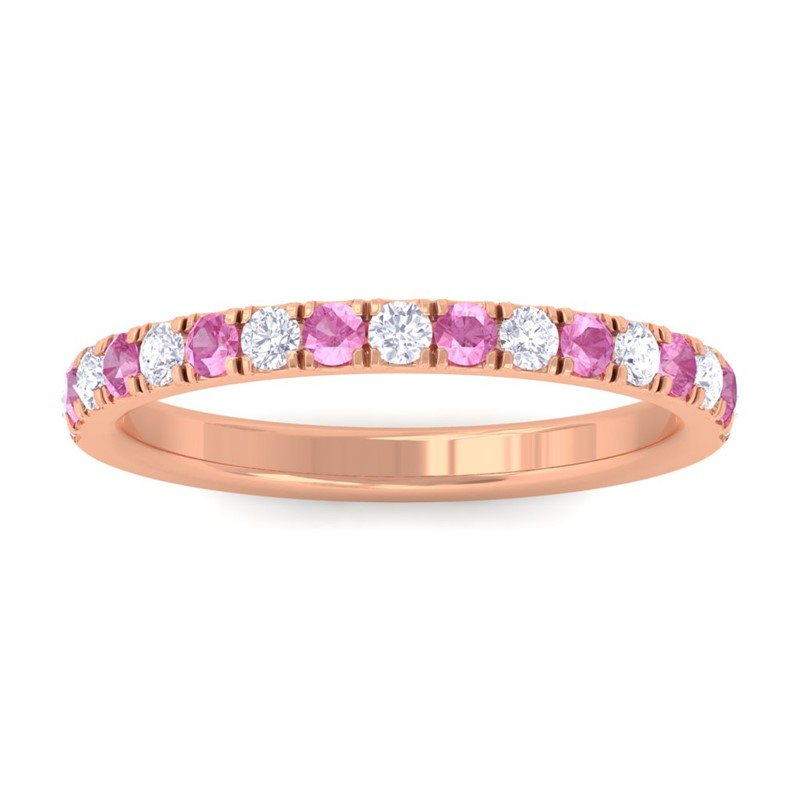 Pink-Sapphire-FG-SI-Diamond-Half-Eternity-Womens-Wedding-Band-18K-Rose-Gold