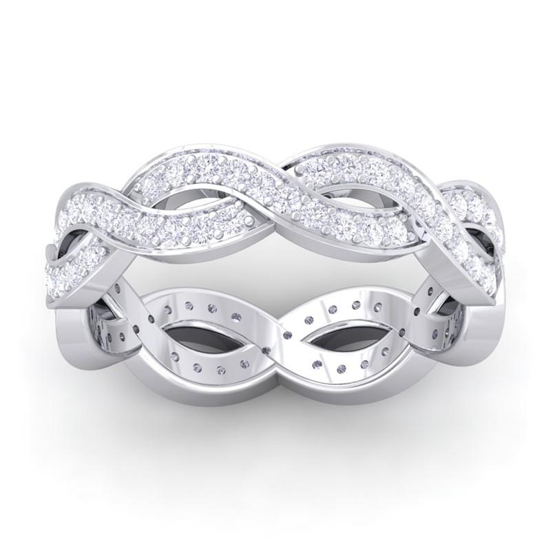 0-74ct-FG-SI-Twisted-Womens-Full-Eternity-Diamond-Wedding-Band-10K-White-Gold