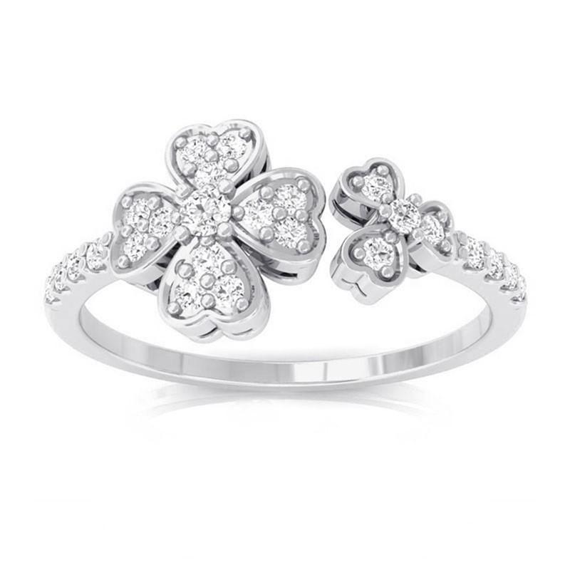 0-16ct-FG-SI-Sparkling-Round-Diamond-Fashion-Women-Flower-Ring-18K-White-Gold