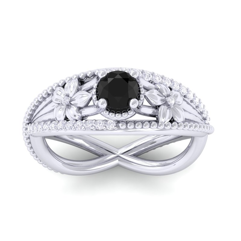 Black-Onyx-IJ-SI-Diamonds-Flower-Gemstone-Engagement-Ring-18K-White-Gold