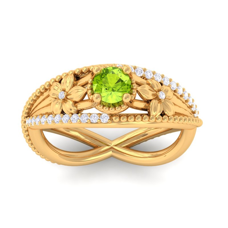Green-Peridot-GH-VS-Diamonds-Flower-Gemstone-Engagement-Ring-Yellow-Gold