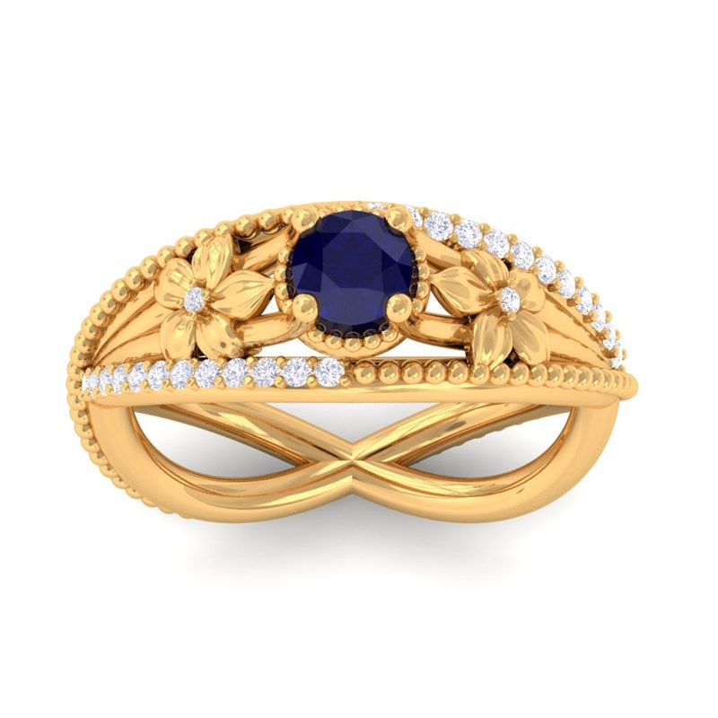Blue-Sapphire-IJ-SI-Diamonds-Flower-Gemstone-Engagement-Ring-14K-Yellow-Gold
