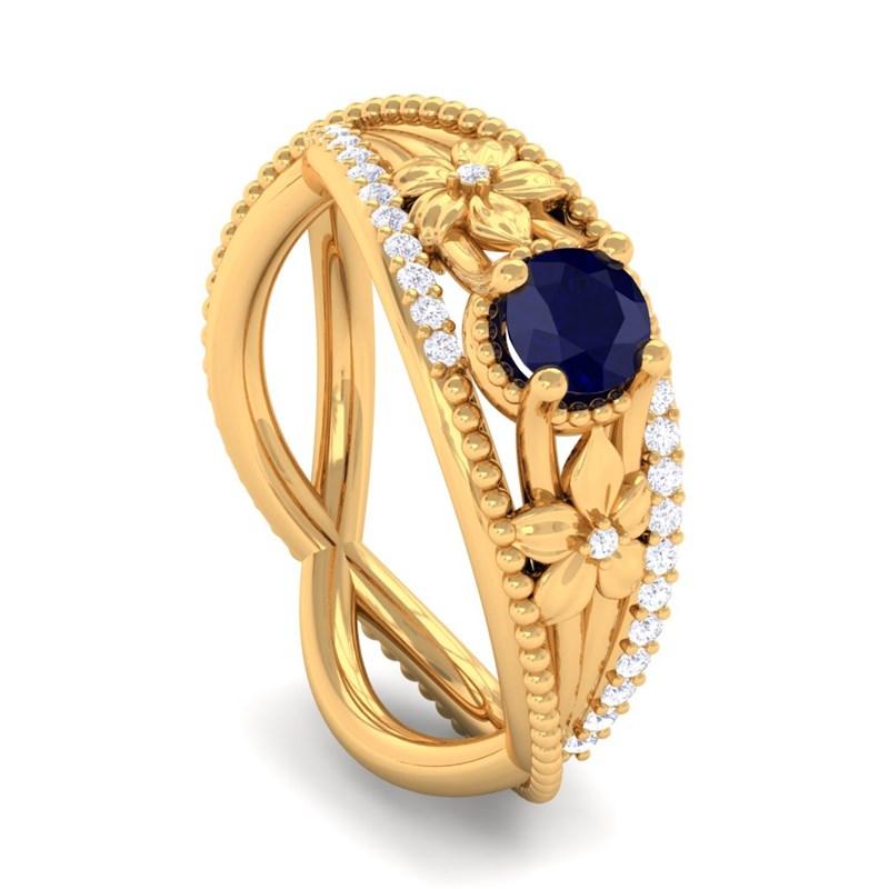 Blue-Sapphire-GH-VS-Diamonds-Flower-Gemstone-Engagement-Ring-Yellow-Gold