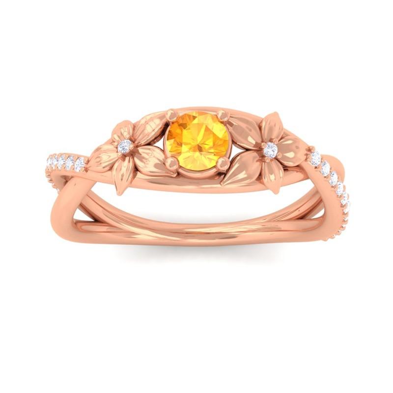 Orange-Citrine-Diamonds-Flower-Wedding-Ring-Women-Special-Gift-10K-Rose-Gold