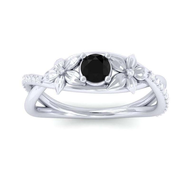 Black-Onyx-Diamonds-Flower-Wedding-Ring-Women-Special-Gift-10K-White-Gold