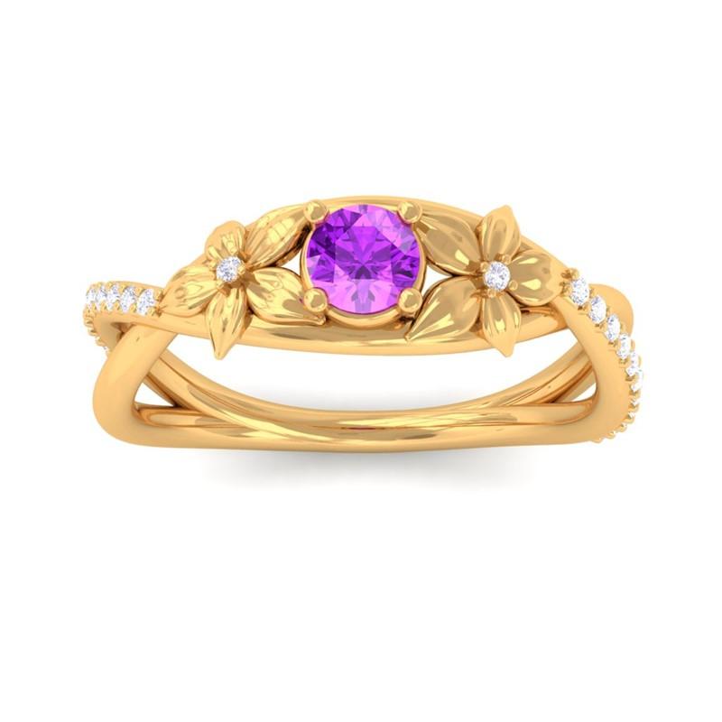 Purple-Amethyst-IJ-SI-Diamonds-Flower-Wedding-Ring-Women-Gift-18K-Yellow-Gold