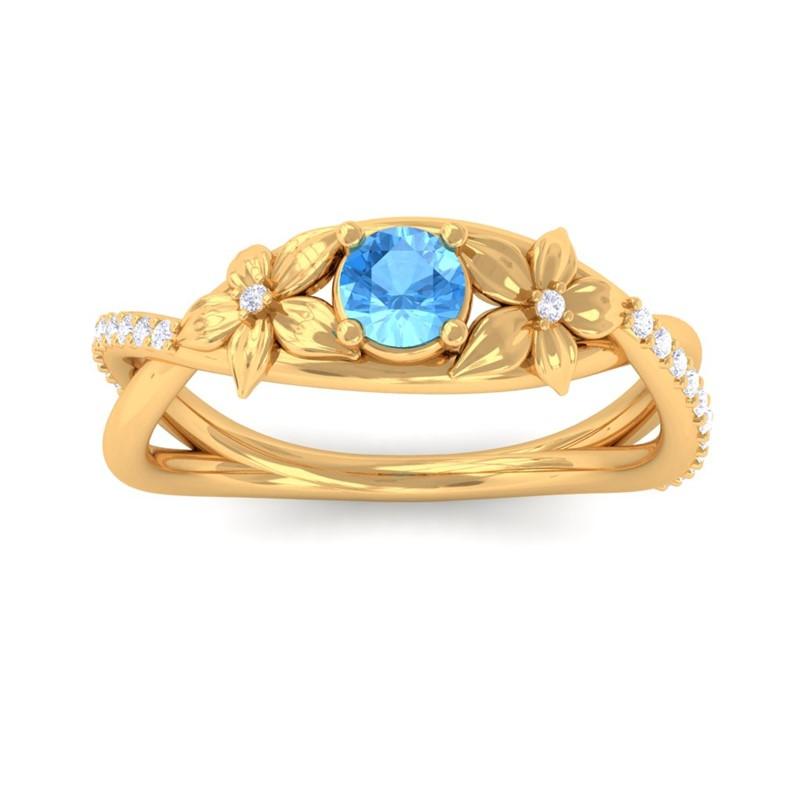 Blue-Topaz-Diamonds-Flower-Wedding-Ring-Women-Special-Gift-10K-Yellow-Gold