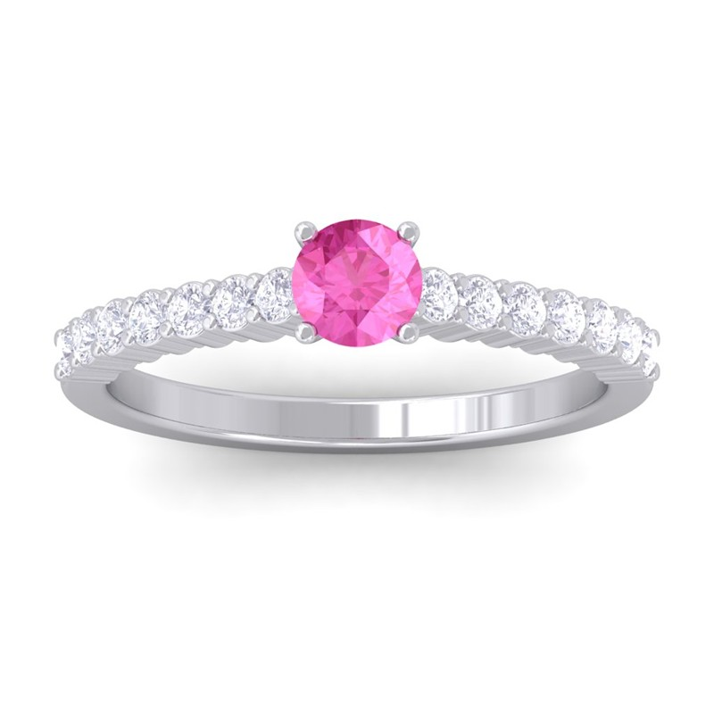 Pink-Sapphire-Round-Diamonds-Half-Eternity-Gem-Engagement-Ring-10K-White-Gold