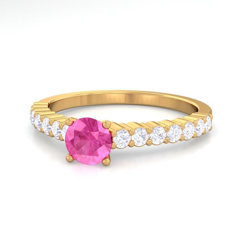 Pink-Sapphire-IJ-SI-Diamonds-Half-Eternity-Engagement-Ring-Yellow-Gold
