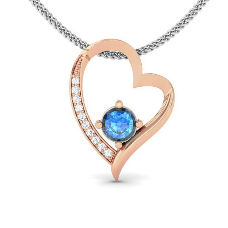 Blue-Topaz-IJ-SI-Natural-Diamonds-Womens-Heart-Pendant-18K-Rose-Gold