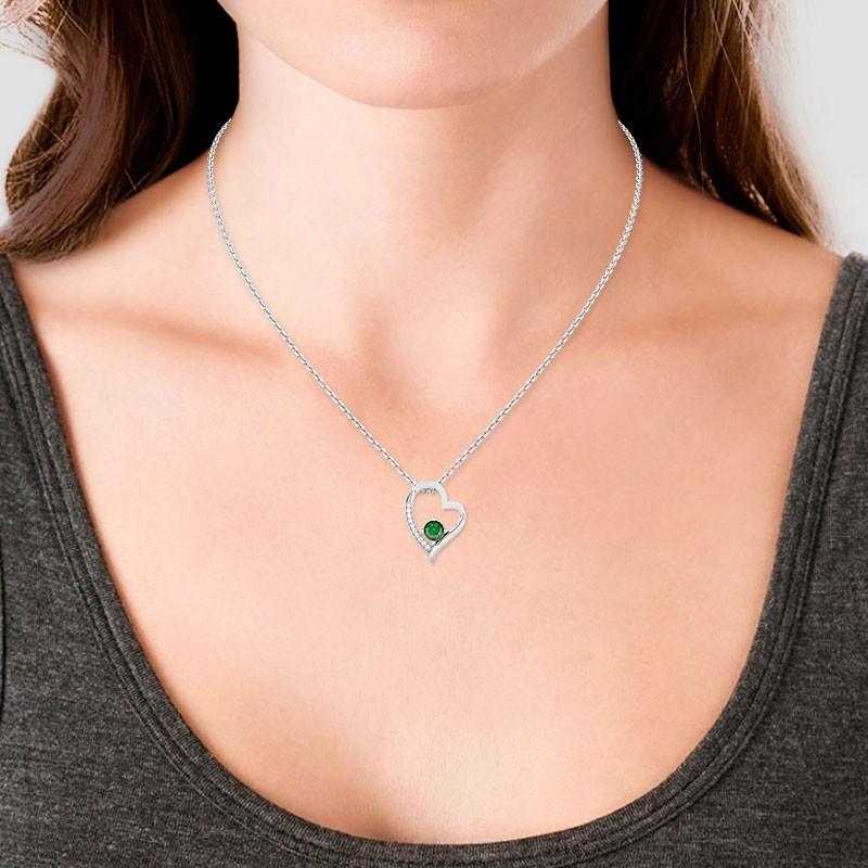 Green-Emerald-FG-SI-Natural-Diamonds-Womens-Heart-Pendant-18K-Gold