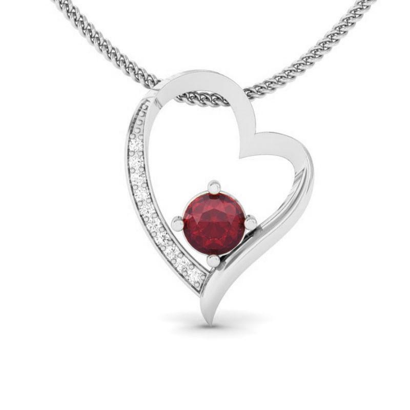 Red-Ruby-IJ-SI-Natural-Diamonds-Womens-Heart-Pendant-18K-White-Gold