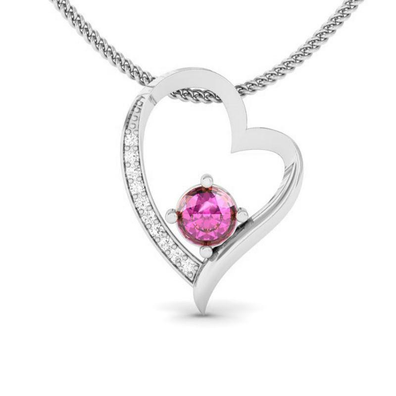 Pink-Sapphire-FG-SI-Natural-Diamonds-Womens-Heart-Pendant-10K-White-Gold