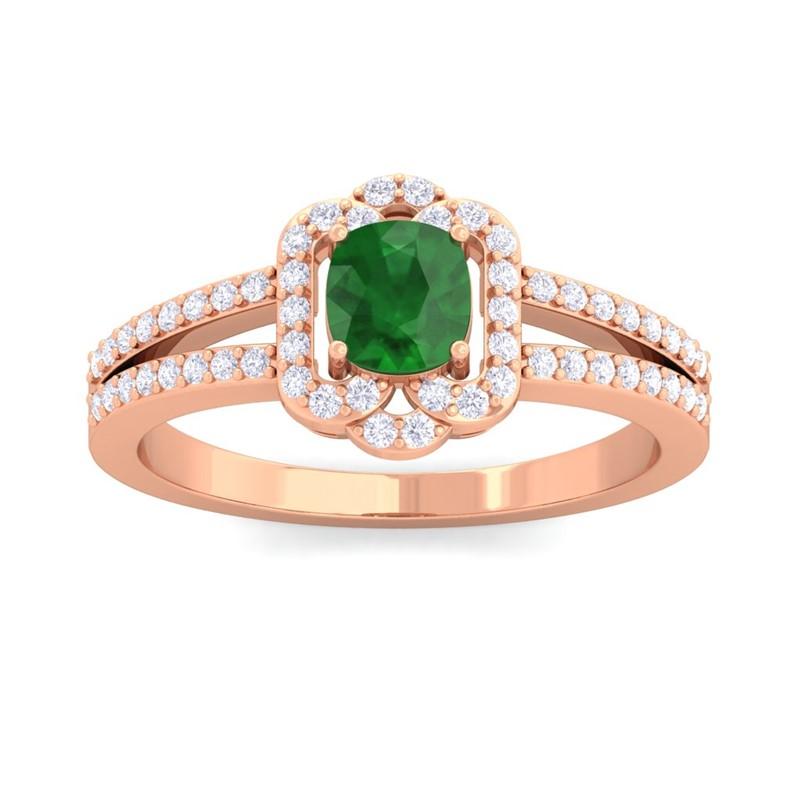 Green-Emerald-FG-SI-Diamond-Cushion-Wedding-Gem-Ring-Women-18K-Rose-Gold