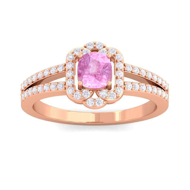 Pink-Sapphire-FG-SI-Diamond-Cushion-Wedding-Gem-Ring-Women-18K-Rose-Gold