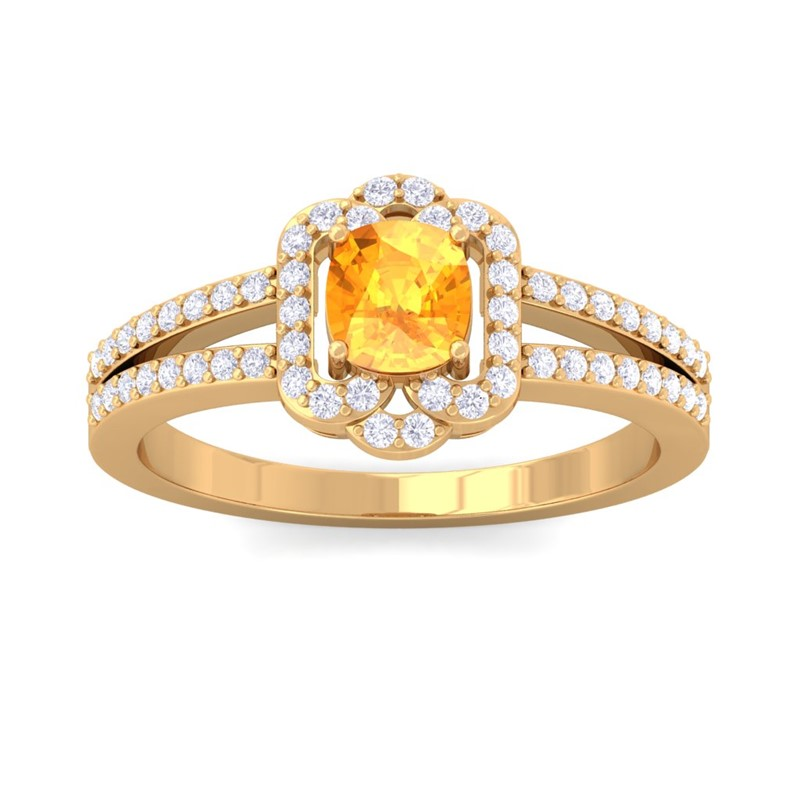 Orange-Citrine-IJ-SI-Diamond-Cushion-Wedding-Gem-Ring-Women-18K-Yellow-Gold