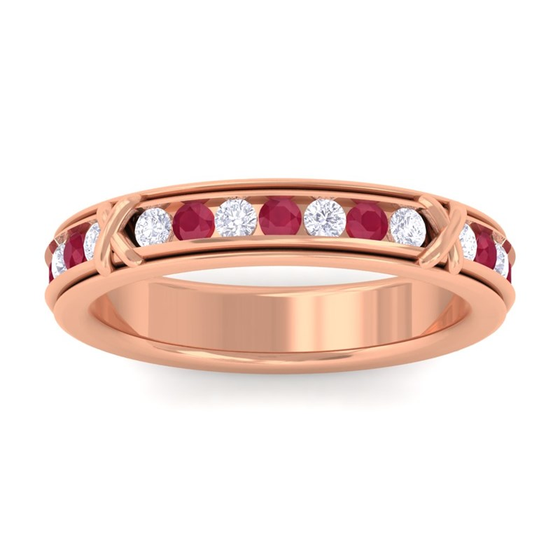 Red-Ruby-FG-SI-Diamond-Full-Eternity-Womens-Wedding-Ring-18K-Rose-Gold