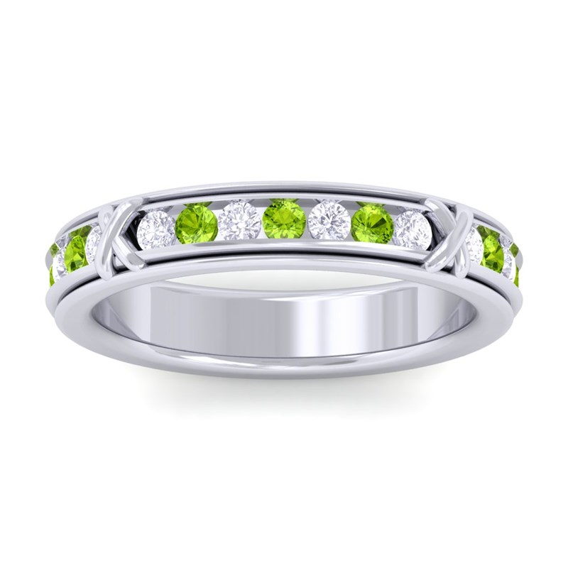 Green-Peridot-IJ-SI-Diamond-Full-Eternity-Womens-Wedding-Ring-18K-White-Gold