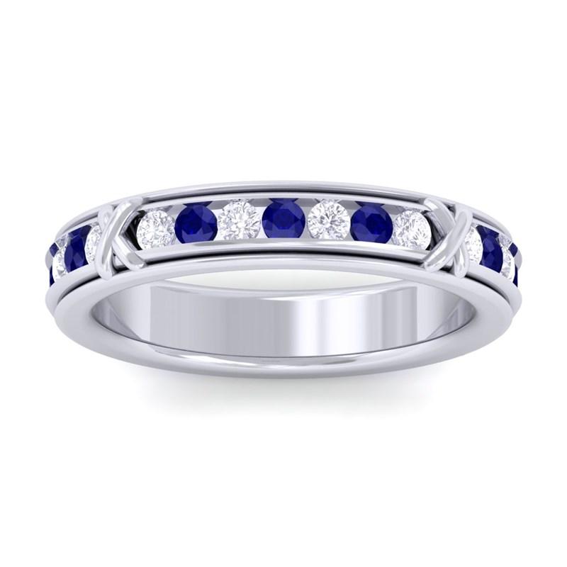 Blue-Sapphire-IJ-SI-Diamond-Full-Eternity-Womens-Wedding-Ring-18K-White-Gold