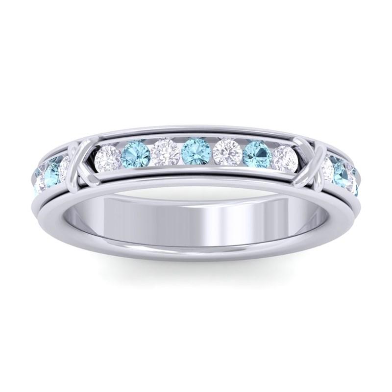 Blue-Topaz-Round-Diamonds-Full-Eternity-Womens-Wedding-Ring-14K-White-Gold