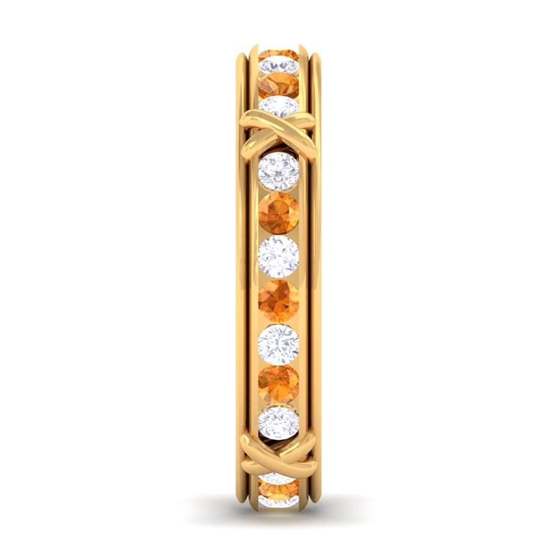 Orange-Citrine-IJ-SI-Diamond-Full-Eternity-Womens-Wedding-Ring-Yellow-Gold