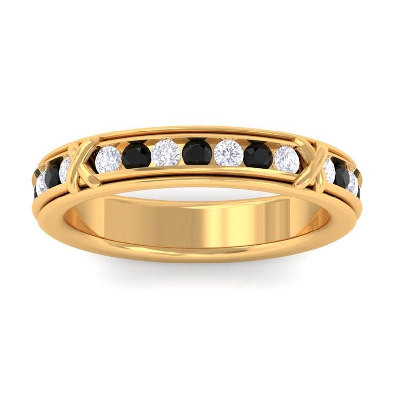 Black Onyx IJ SI Diamond Full Eternity Womens Wedding Ring 14K Gold