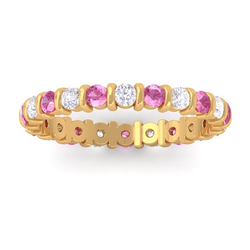 Pink-Sapphire-IJ-SI-Admirable-Diamonds-Gem-Full-Eternity-Ring-10K-Yellow-Gold