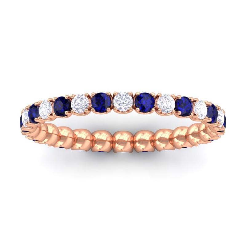 Blue-Sapphire-FG-SI-Diamond-Women-Anniversary-Wedding-Band-10K-Rose-Gold