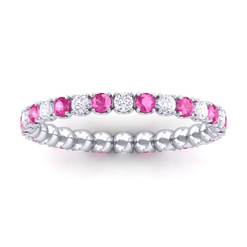 Pink-Sapphire-FG-SI-Diamond-Women-Anniversary-Wedding-Band-10K-White-Gold
