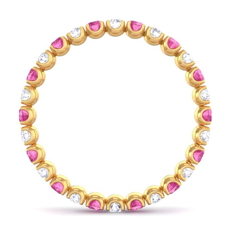 Pink-Sapphire-IJ-SI-Diamond-Women-Anniversary-Wedding-Band-Yellow-Gold