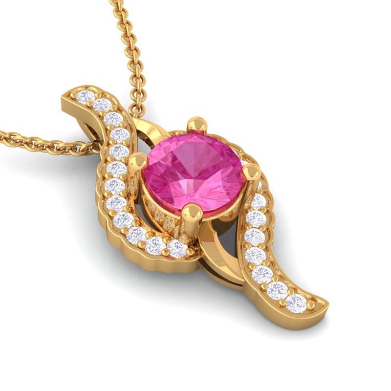 Pink-Sapphire-GH-VS-Diamonds-Round-Gemstone-Pendant-Womens-Yellow-Gold