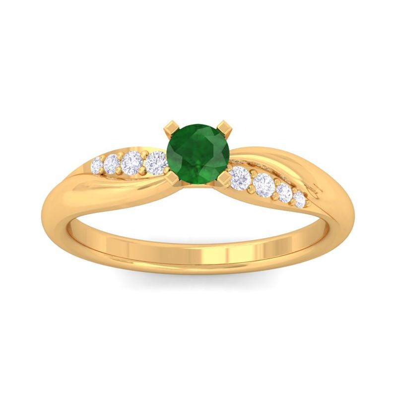 Green-Emerald-FG-SI-Dailywear-Single-Gem-Fine-Diamonds-Ring-14K-Solid-Gold