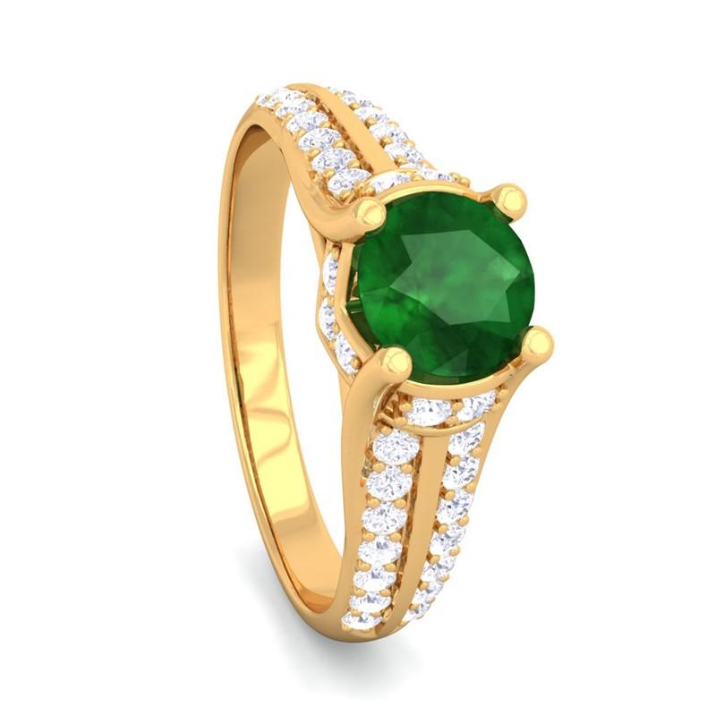 Green-Emerald-IJ-SI-Brilliant-Gemstone-Natural-Diamonds-Ring-18K-Solid-Gold