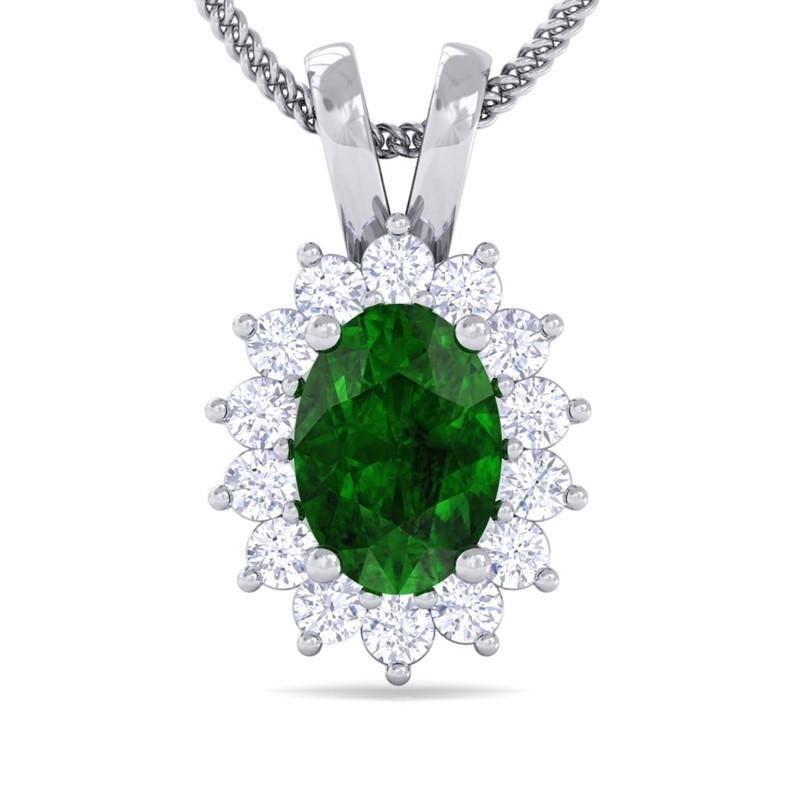 Green-Emerald-IJ-SI-Diamond-Oval-Gemstone-Pendant-Women-Gift-10K-White-Gold