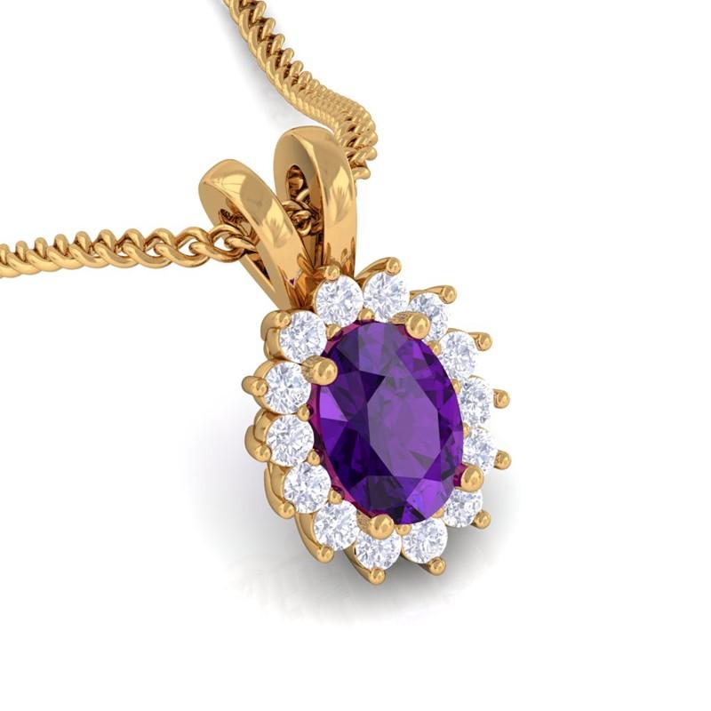 Purple-Amethyst-IJ-SI-Diamond-Oval-Gemstone-Pendant-Women-Gift-Yellow-Gold