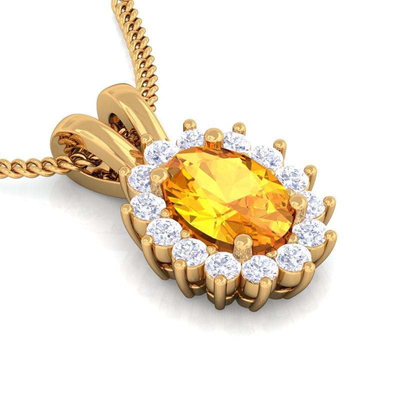 Orange-Citrine-GH-VS-Diamond-Oval-Gemstone-Pendant-Women-Gift-Yellow-Gold