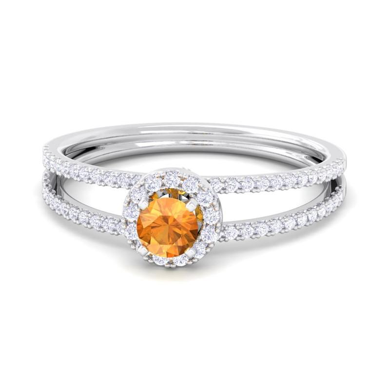 Orange-Citrine-FG-SI-Gemstone-Diamonds-Fashion-Halo-Ring-Women-18K-Gold