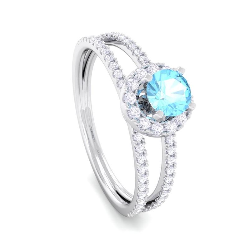 Blue-Topaz-FG-SI-Gemstone-Diamonds-Fashion-Halo-Ring-Women-18K-Gold