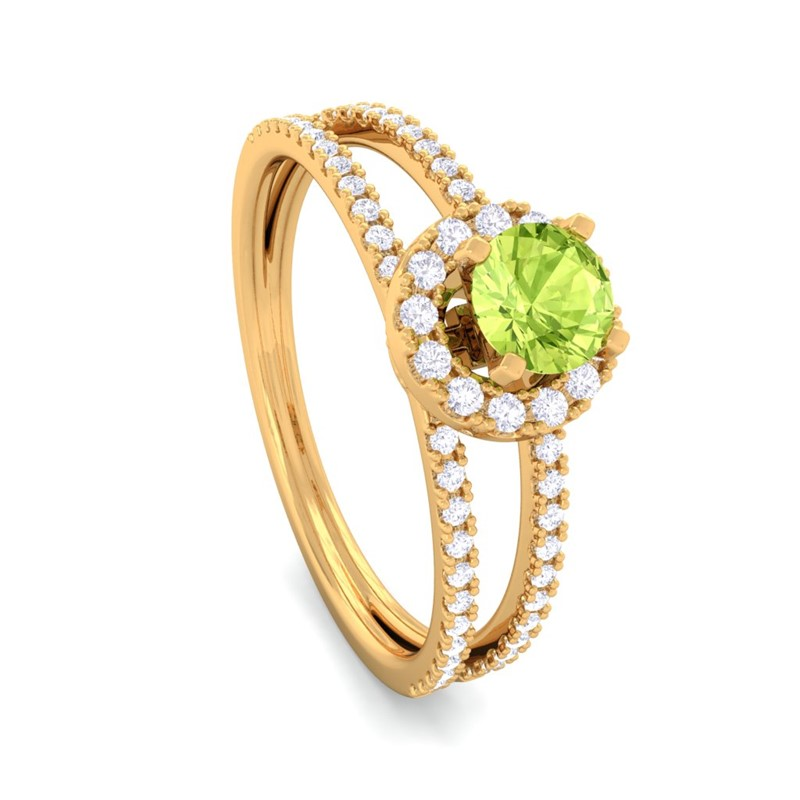 Green-Peridot-IJ-SI-Gemstone-Diamonds-Fashion-Halo-Ring-Women-14K-Solid-Gold