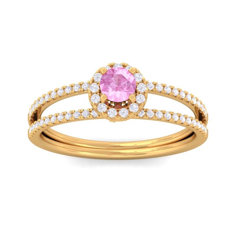 Pink-Sapphire-IJ-SI-Gemstone-Diamonds-Fashion-Halo-Ring-Women-18K-Yellow-Gold